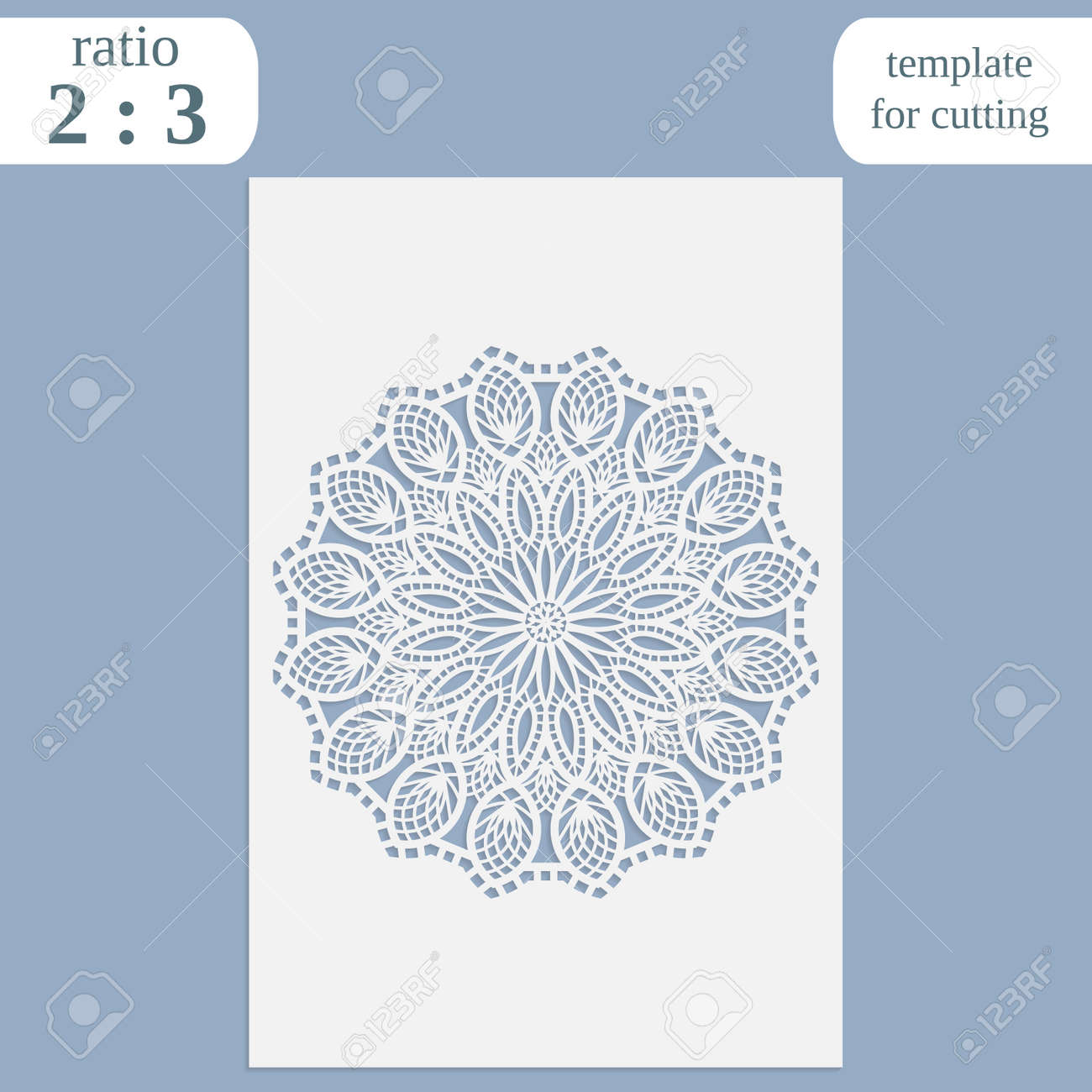 Paper openwork greeting card, template for cutting, lace invitation, lasercut metal panel, wood carving, laser cut plastic, vector illustration - 61935983