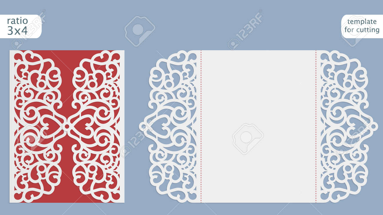 Laser cut wedding invitation card template vector. Cut out the..