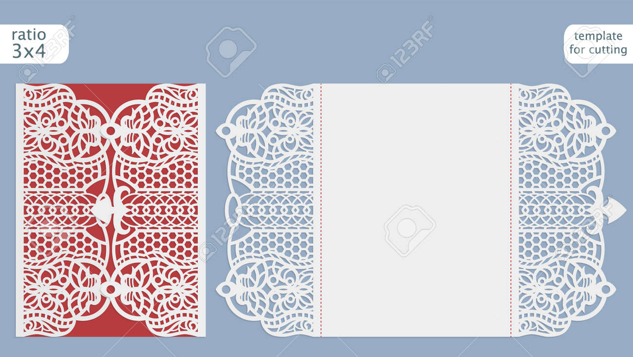 Laser Cut Wedding Invitation Card Template Vector Cut Out The Paper Card With Lace Pattern Greeting Card Template For Cutting Plotter