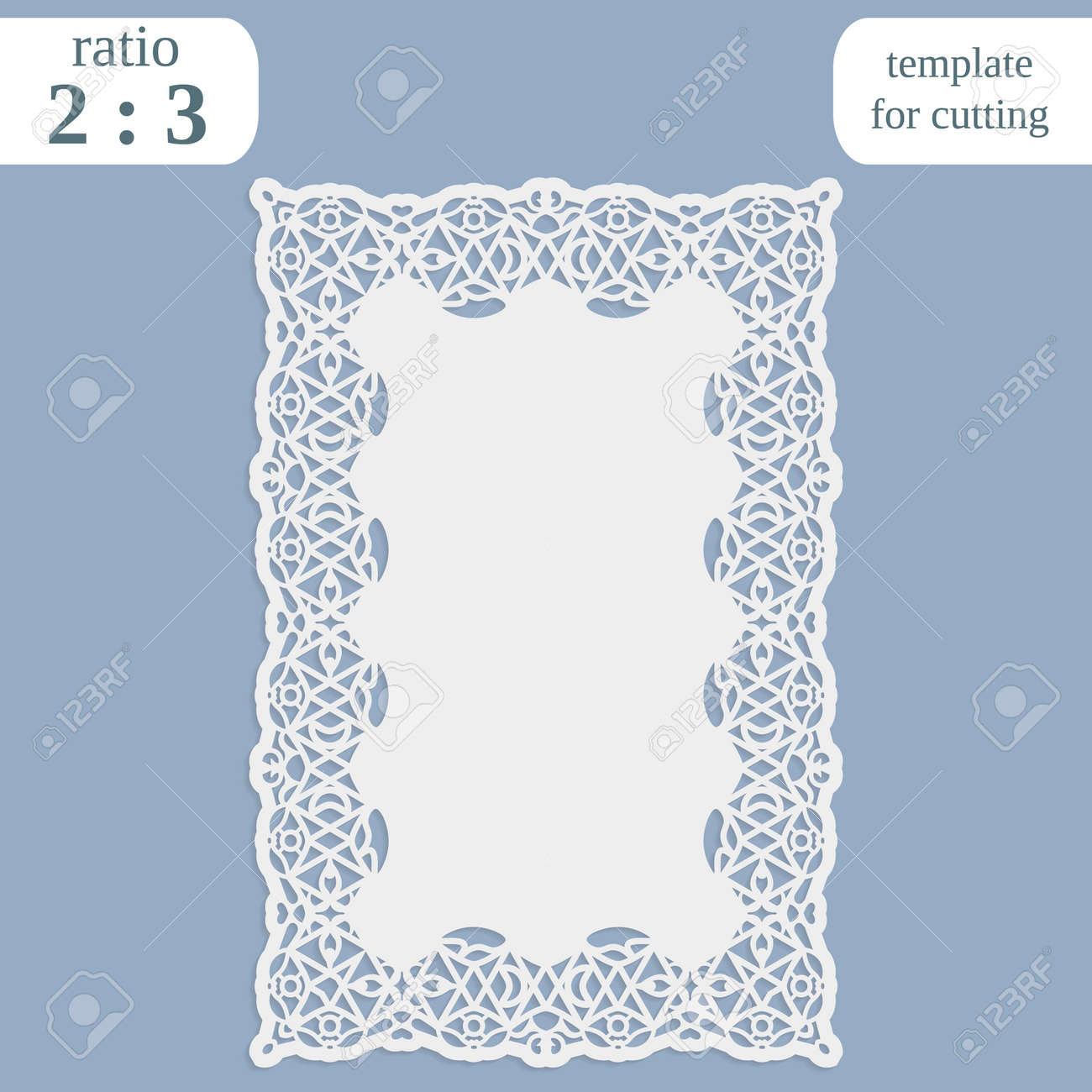 Greeting Card With Openwork Border, Rectangular Paper Doily ...