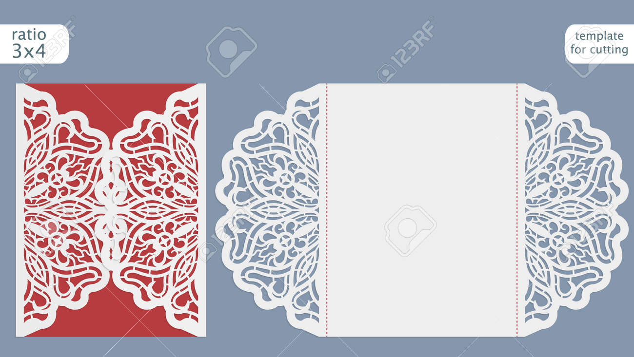 Laser Cut Wedding Invitation Card Template Cut Out The Paper