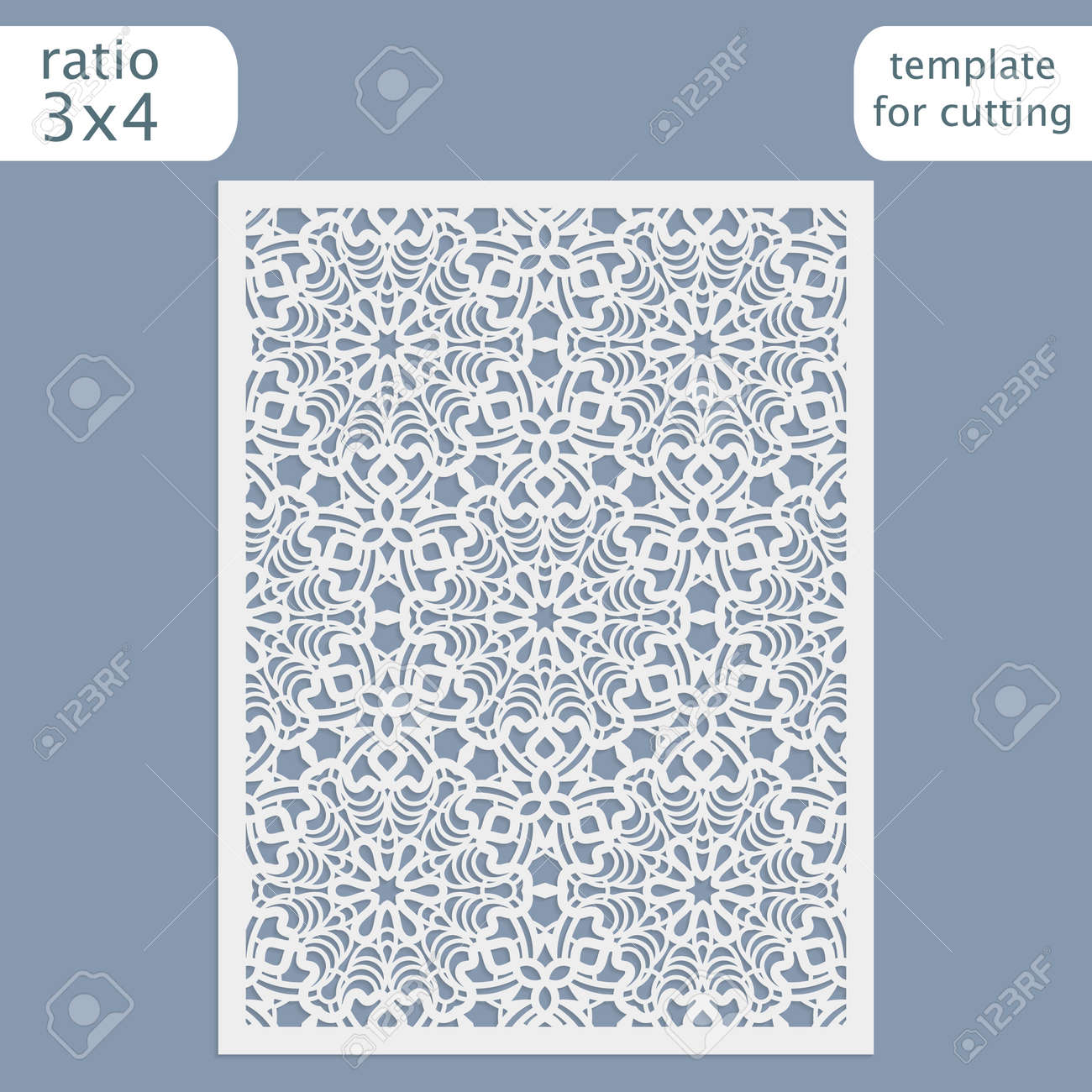 Laser Cut Wedding Invitation Card Template Cut Out The Paper Card With Lace Pattern Greeting Card Template For Cutting Plotter Vector