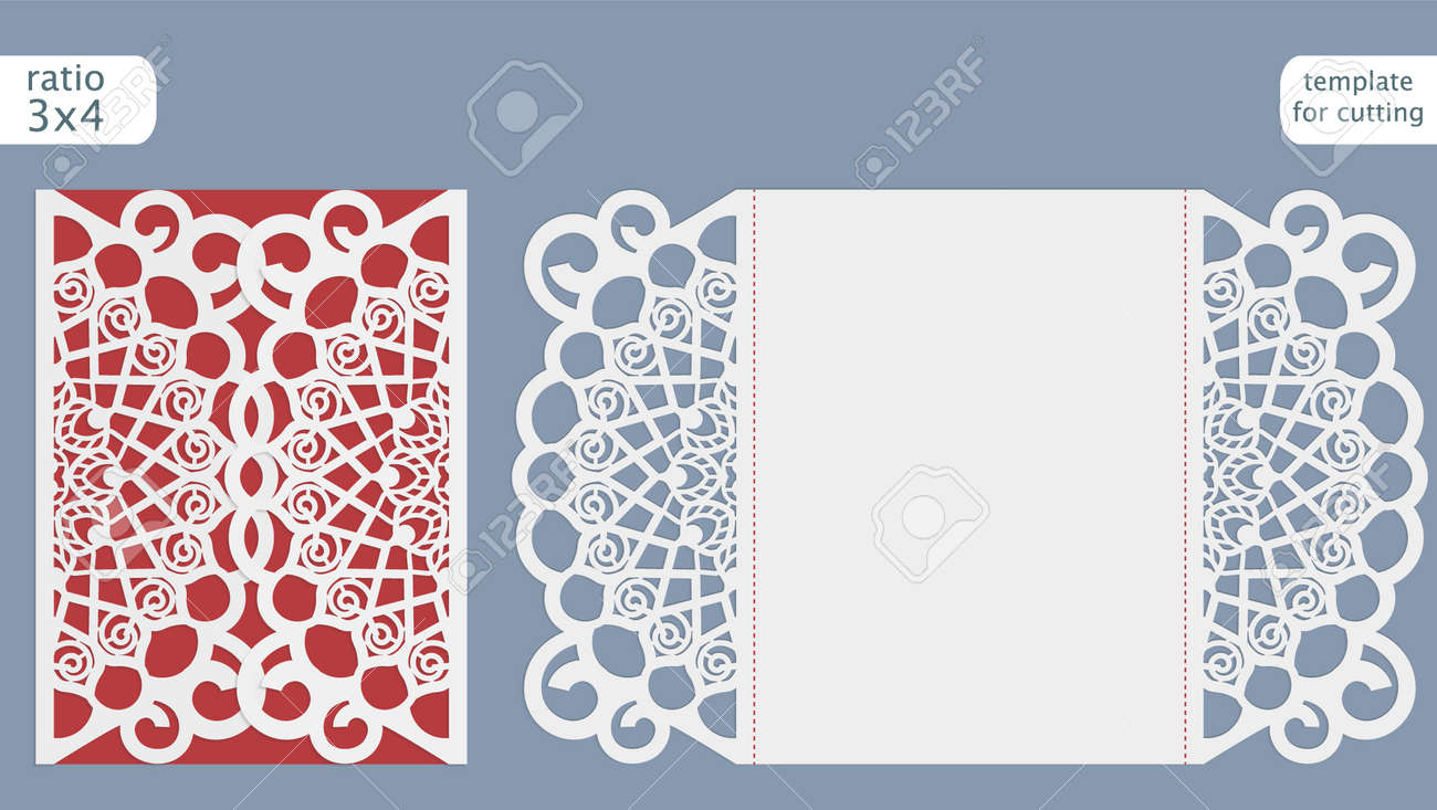 Laser Cut Wedding Invitation Card Template Vector Die Cut Paper