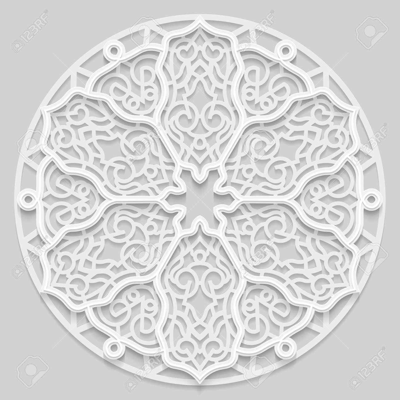 Mandala De Encaje 3D, Patrón Redondo Calado Simétrico, Tapete De ...