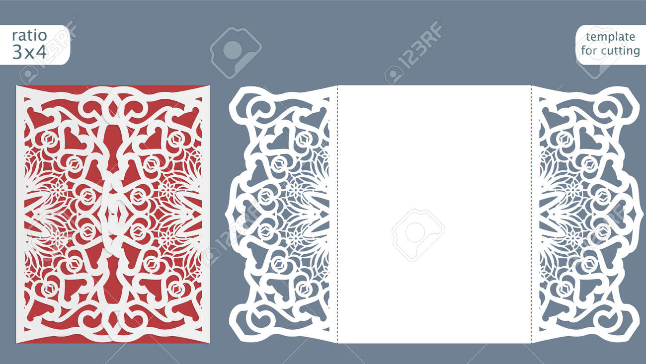 Laser Cut Wedding Invitation Card Template Vector. Die Cut Paper ...