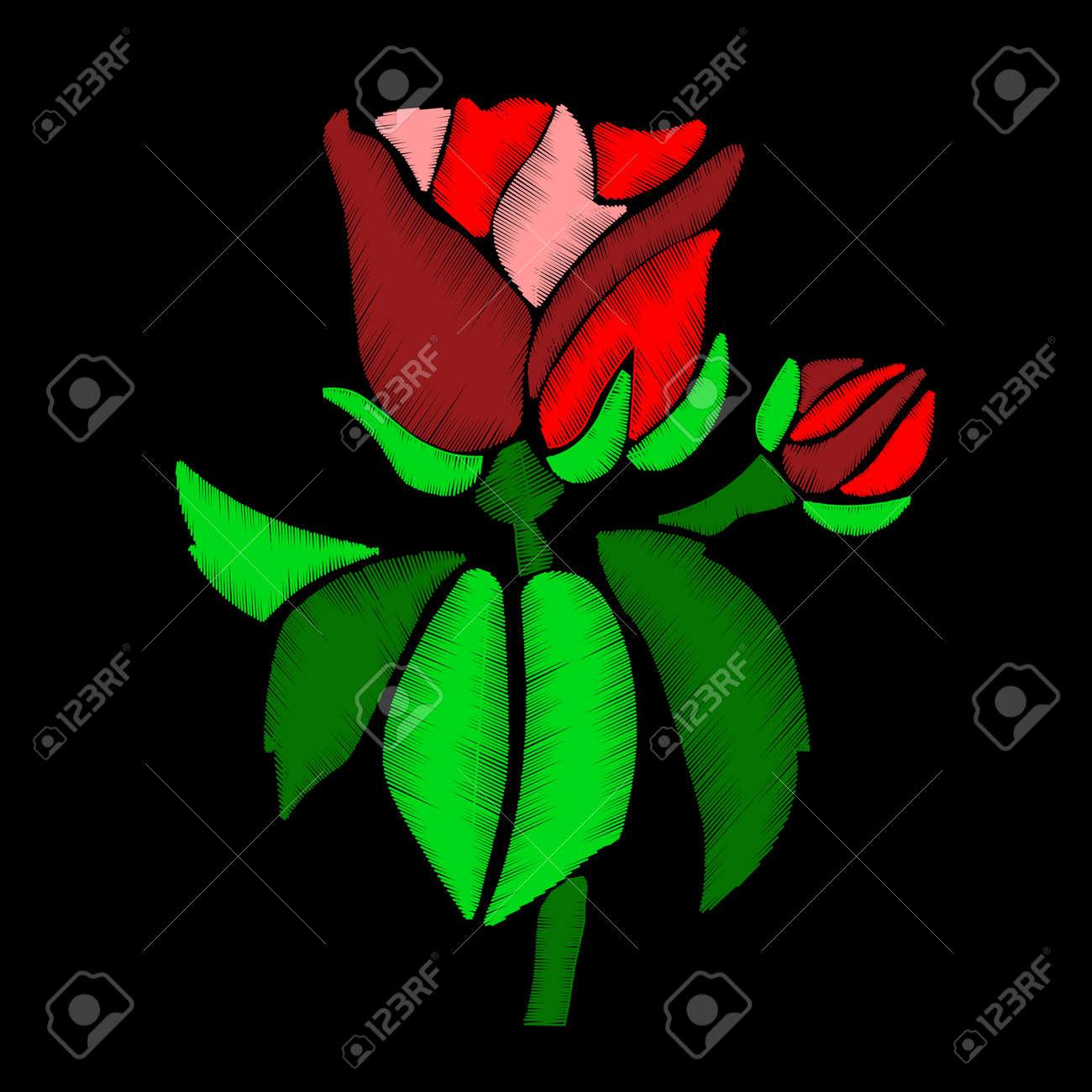 rouge, rose, fleur - broderie sur fond noir. vous pouvez utiliser