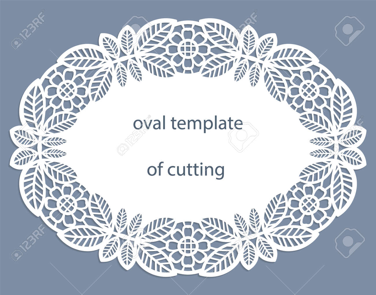 Greeting Card With Openwork Oval Border, Paper Doily Under.. Royalty ...