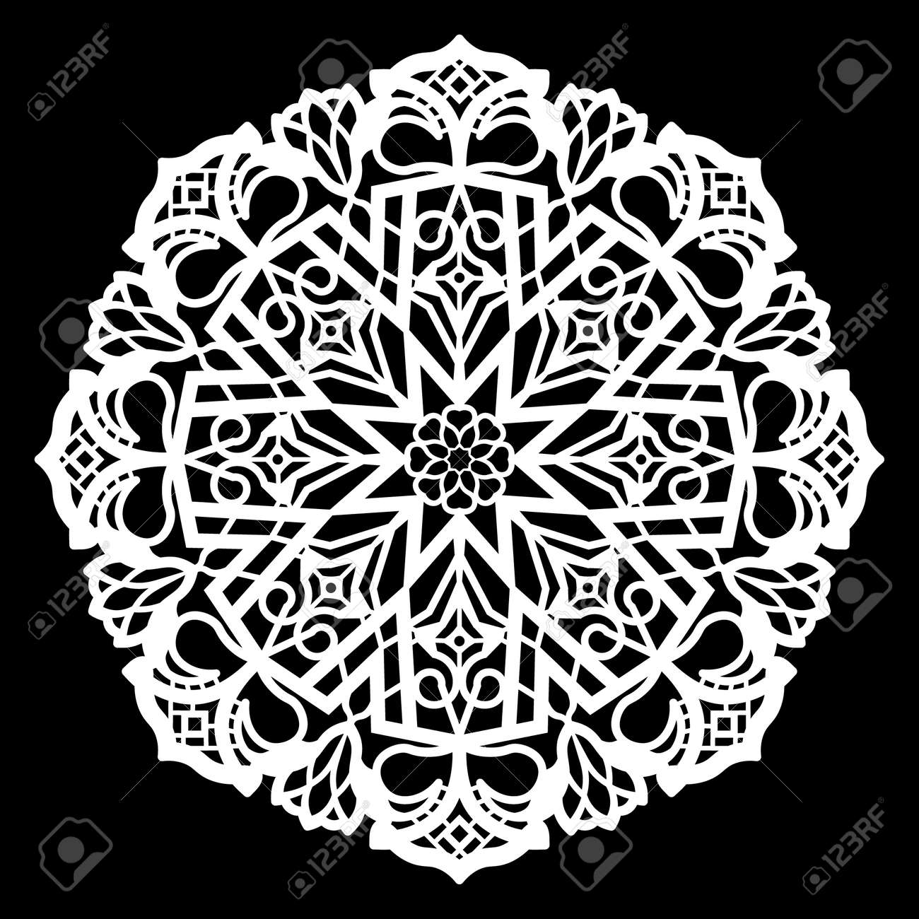 Lace Round Paper Doily, Lacy Snowflake, Greeting Element, Template ...