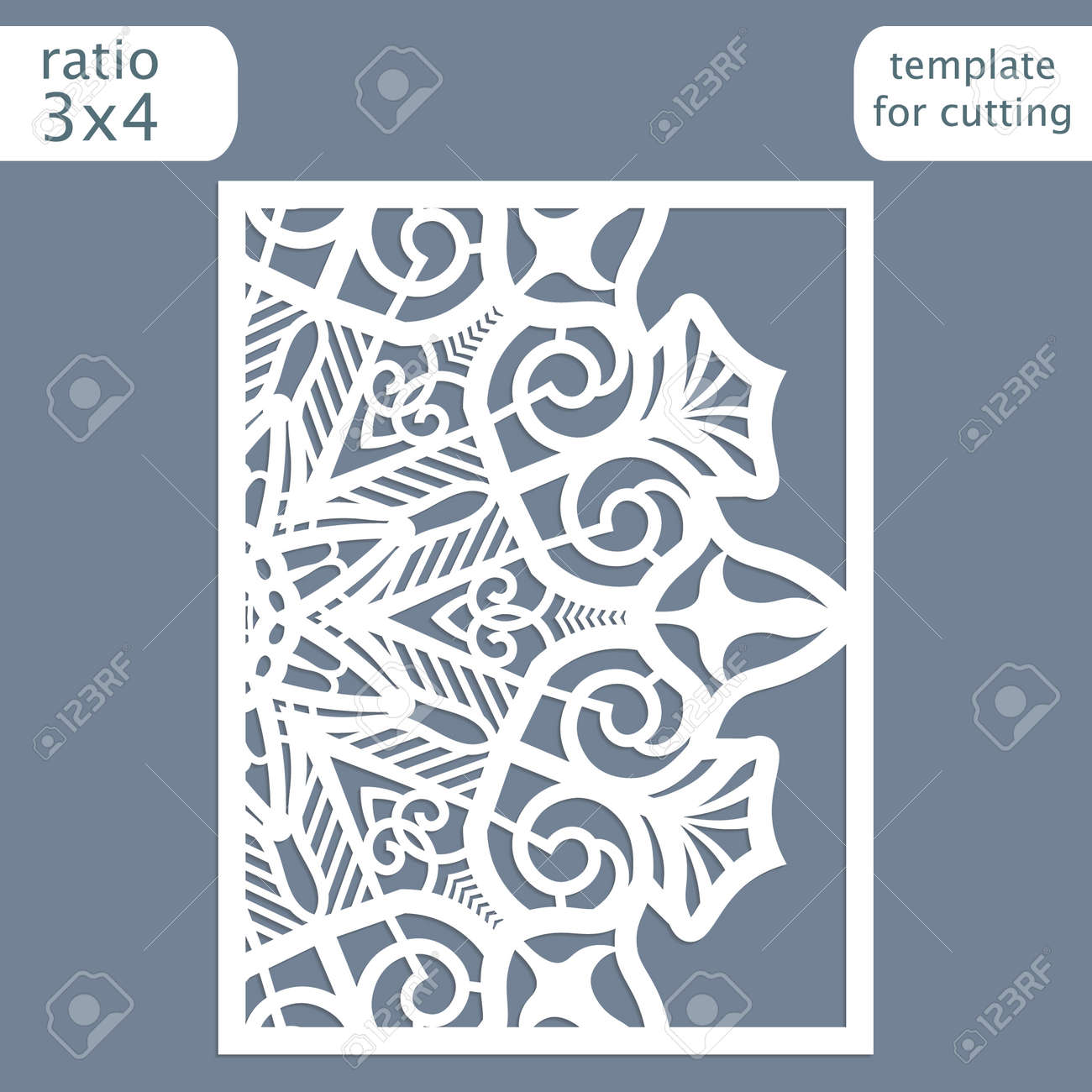 Laser Cut Wedding Invitation Card Template. Cut Out The Paper ...