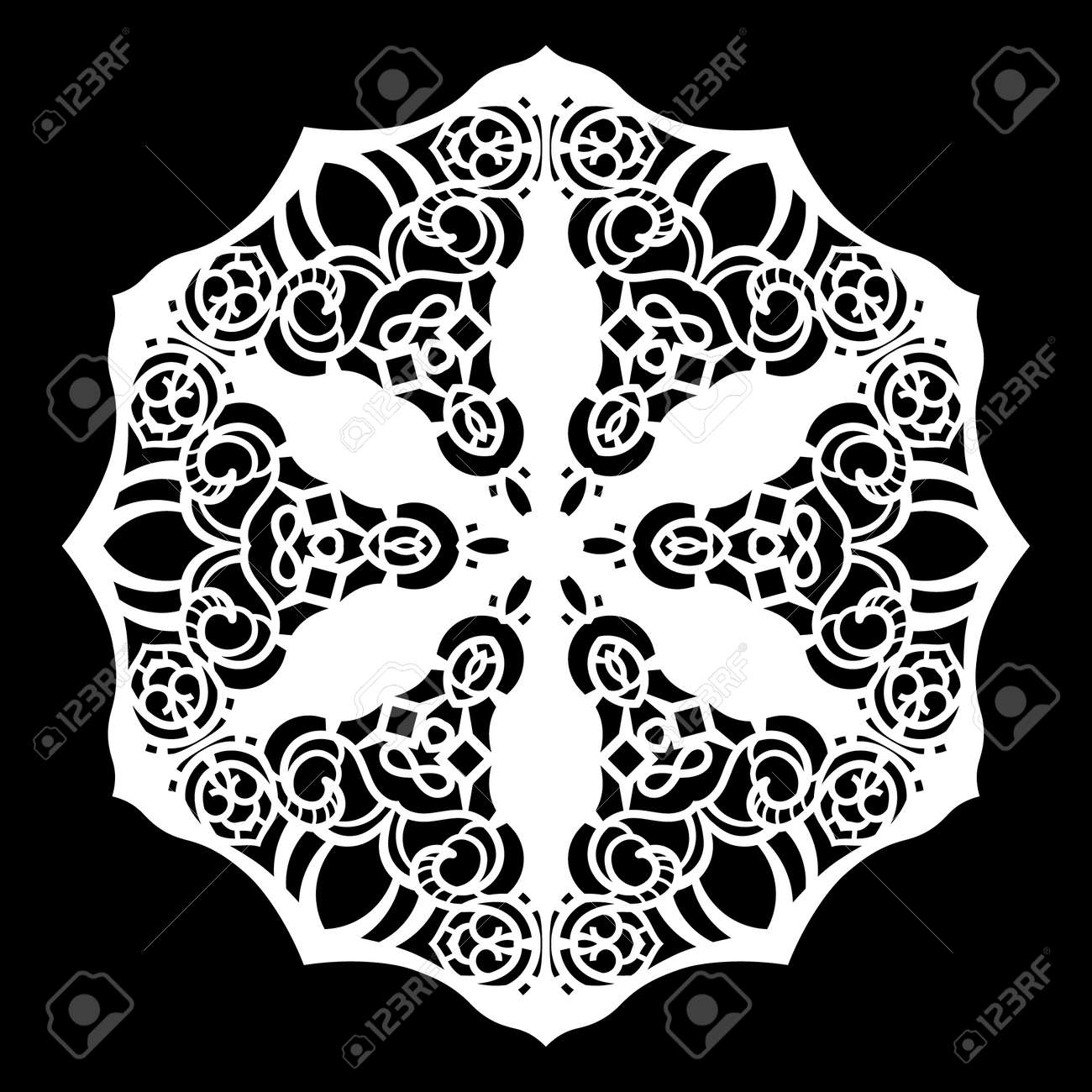 Lace Round Paper, Lace Snowflake, Greeting Element, Template ...