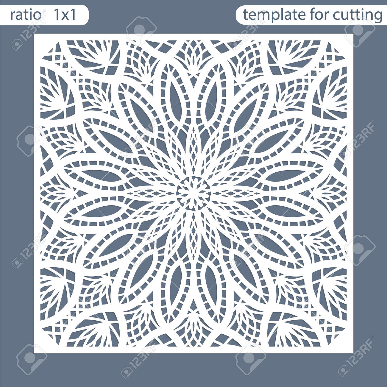 Template square greeting cards laser cut. Suitable for wedding invitations. Template greeting card for cutting plotter. Abstract round pattern. Vector illustrations. - 72583266