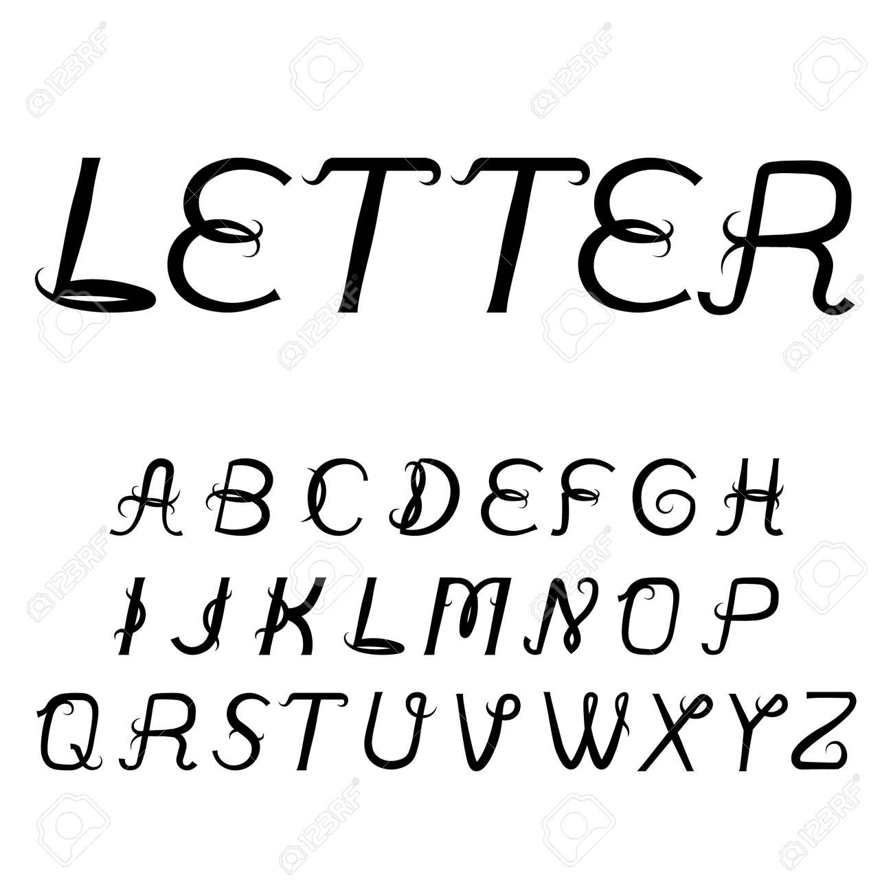 Vintage Titular Letters Vector Italic Alphabet Black Inclined