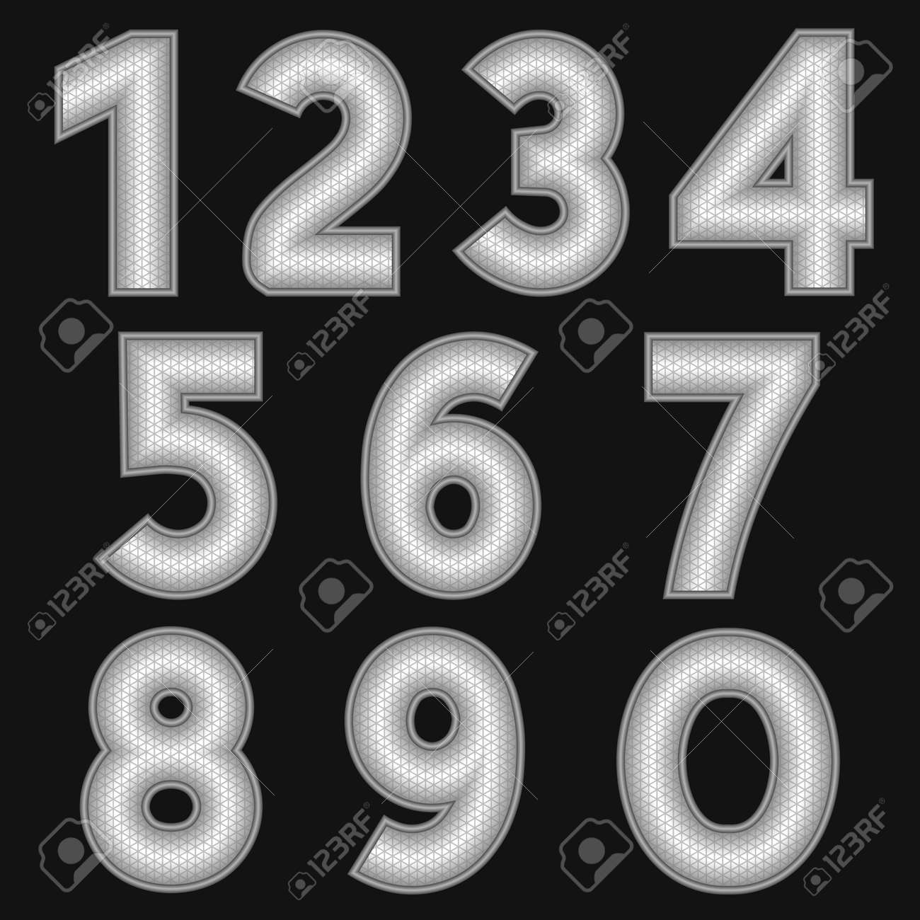 Thin Metal Letters A Complete Set Of Metal Numbers With A Relief Surfacethe Edges