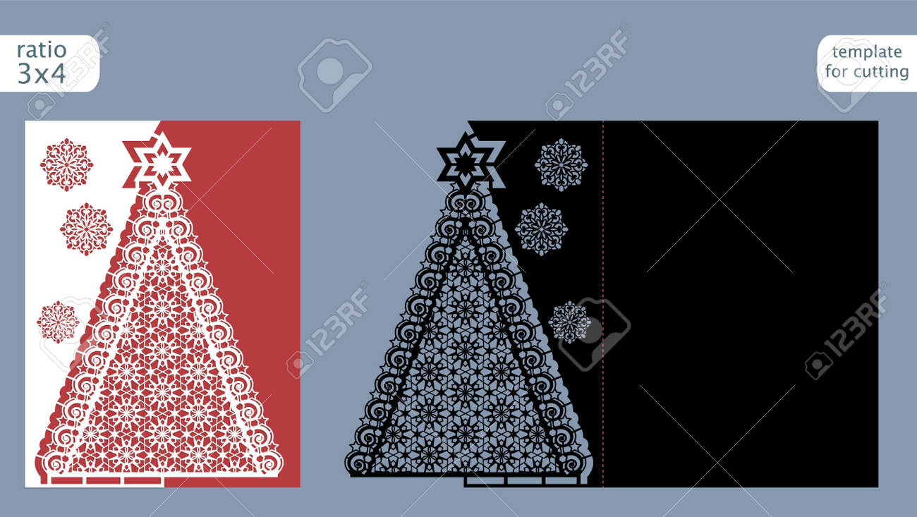 Gestanzte Weihnachtskarten.Laser Cut Out Christmas Card Template Die Cut Paper Card With
