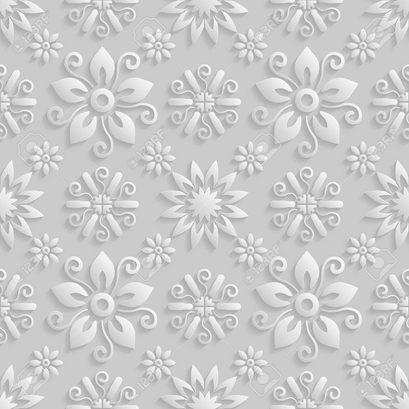 Seamless 3d White Floral Pattern Vector Endless Texture Can