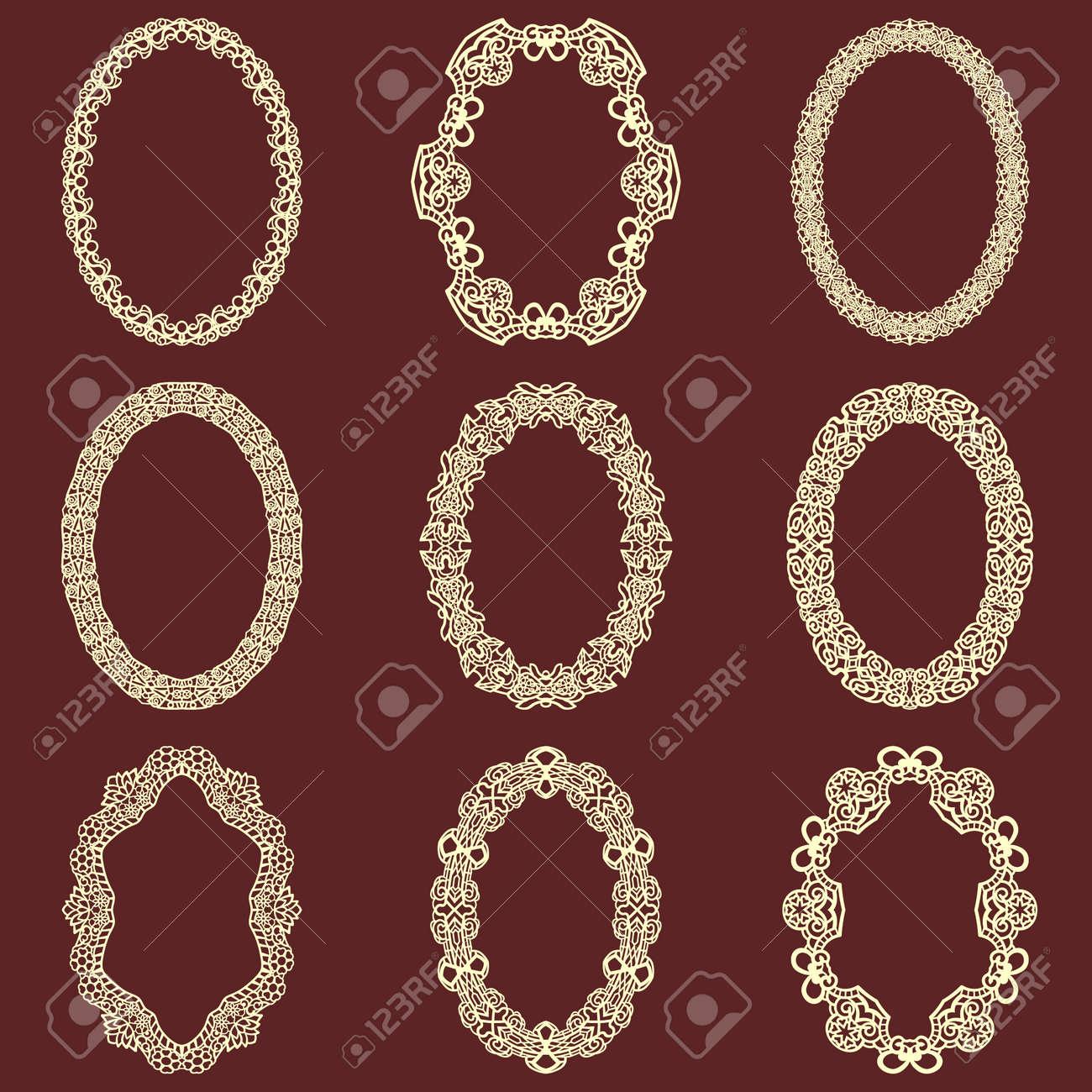 Conjunto De Fondo Aislado De Marcos Vintage Ovales. Elementos De ...