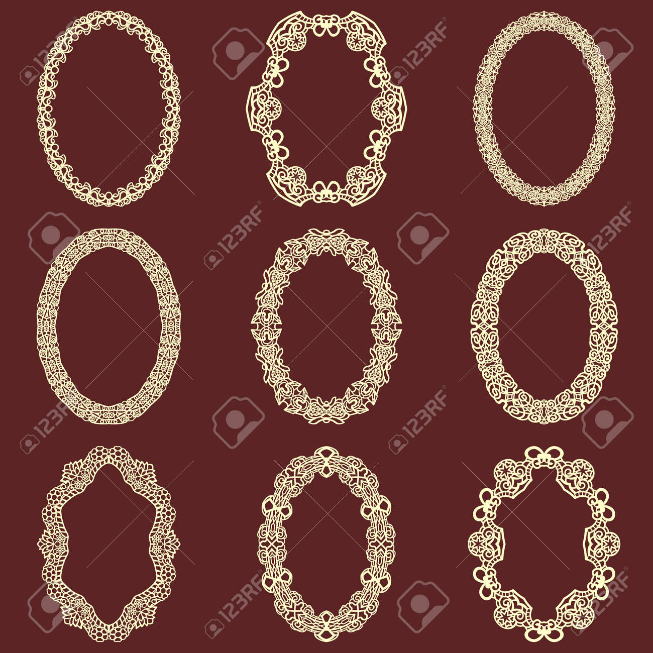 vintage frame design oval. Set Of Oval Vintage Frames Isolated Background. Vector Design Elements That Can Be Cut With Frame P