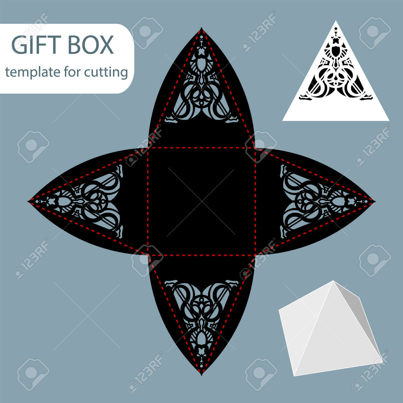 Paper Gift Box, Lace Pattern, Pyramid With A Square Bottom, Cut ...