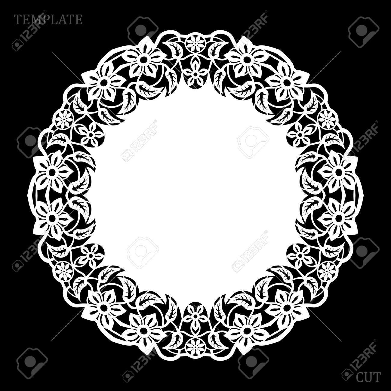 Lace round paper doily, greeting element, laser cut template, doily to decorate the cake, vector illustrations. - 120537086