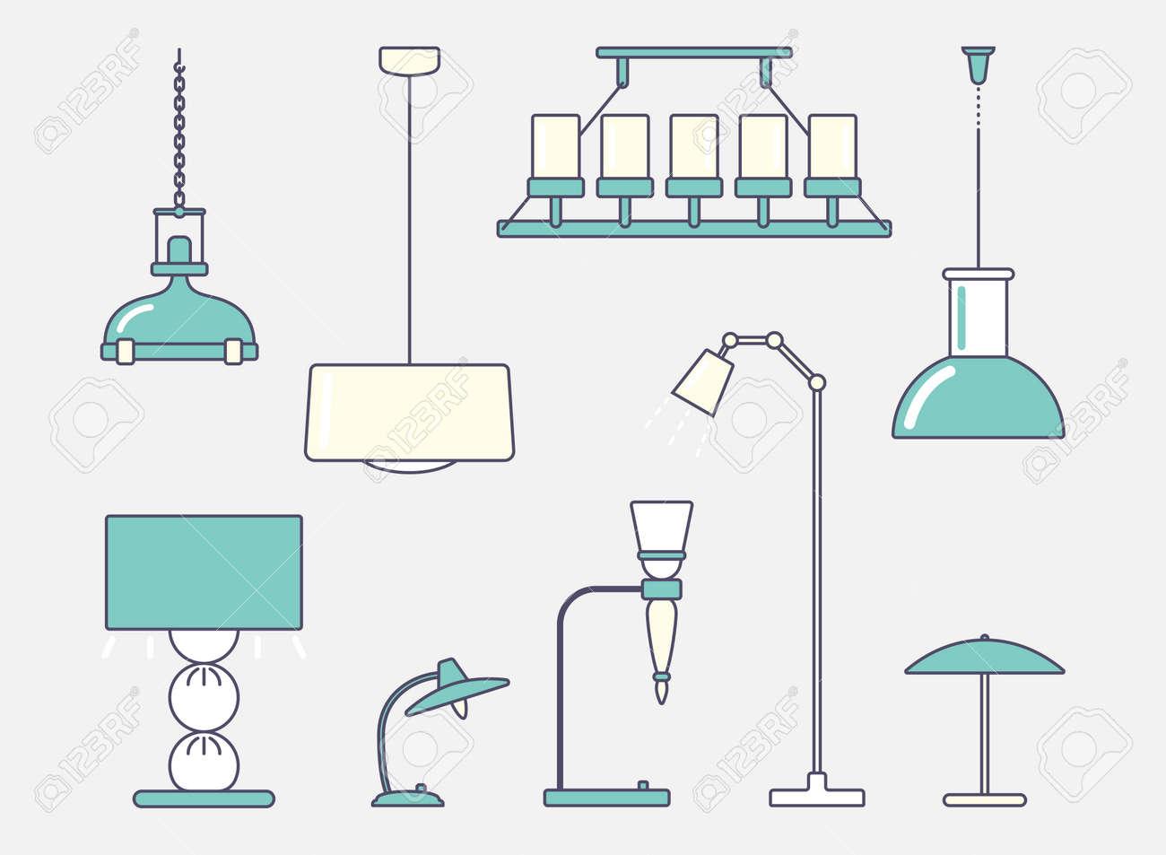 Lámpara de techo, piso y mesa. Gran conjunto. Ilustración de Vector de diseño de trazo plano