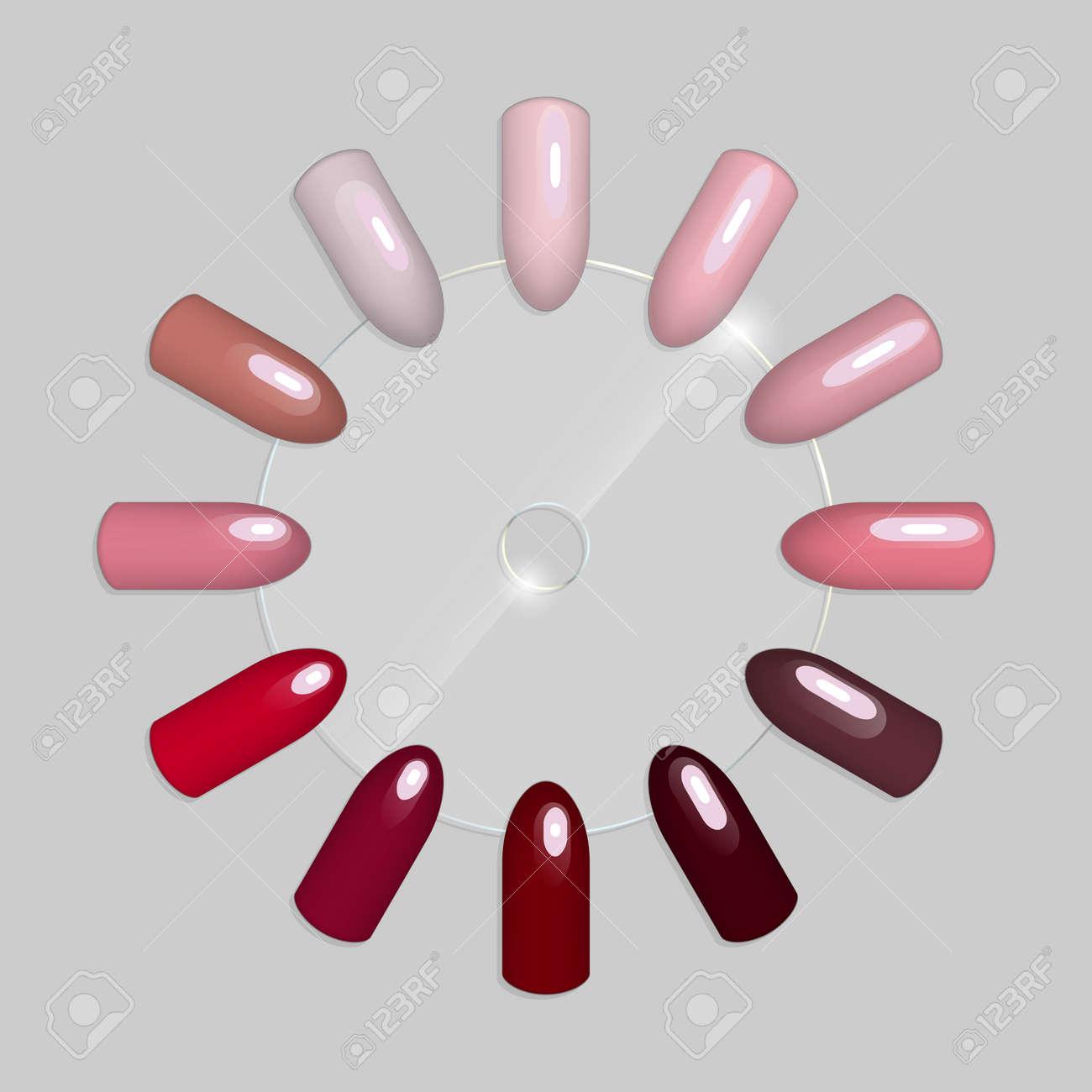 Set Of False Nails For Manicure.Vvarnish Color Palette For Nail ...