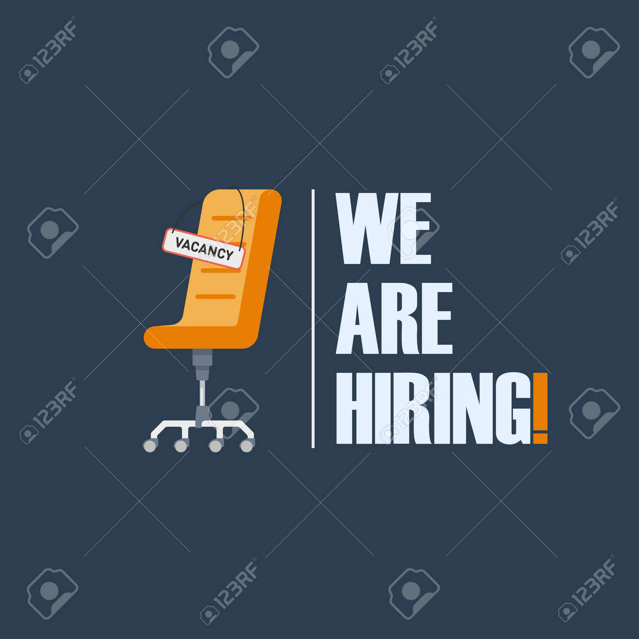Office chair with a sign with the inscription vacancy . Tagline We Are Hiring . The idea for recruiting and hiring. Vector illustration - 90434026