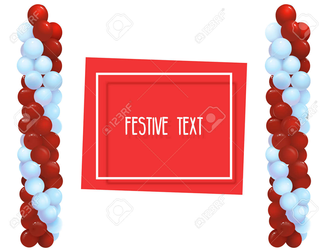 92c488b1521c Festive balloons in the form of columns. Frame for text. Registration of  congratulations