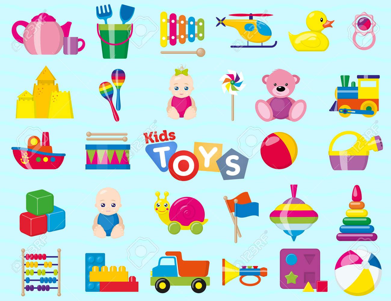 Giocattoli Per Bambini Un Set Di Giocattoli Per Bambini Per I Più Piccoli Illustrazione Vettoriale
