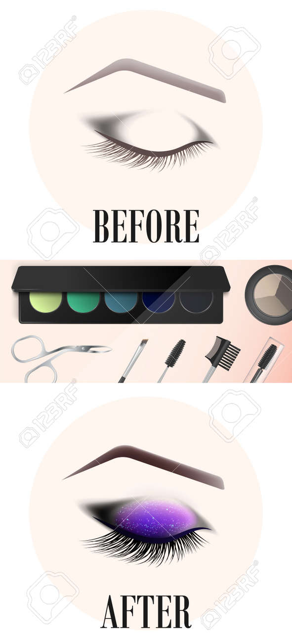 Design Of Eyebrows And Make Up The Closed Female Eye Before