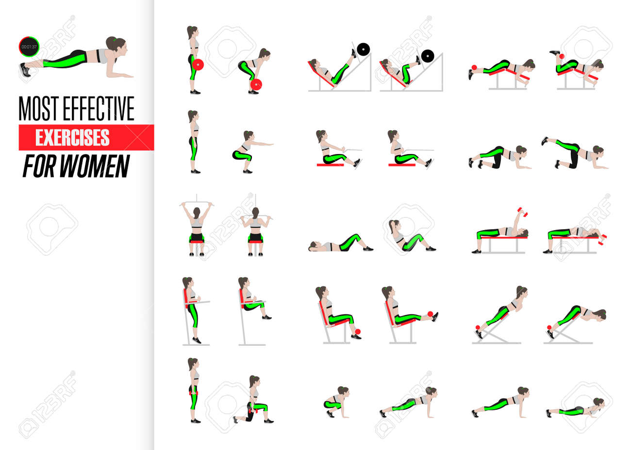 Set of sport exercises  Exercises with free weight  Exercises