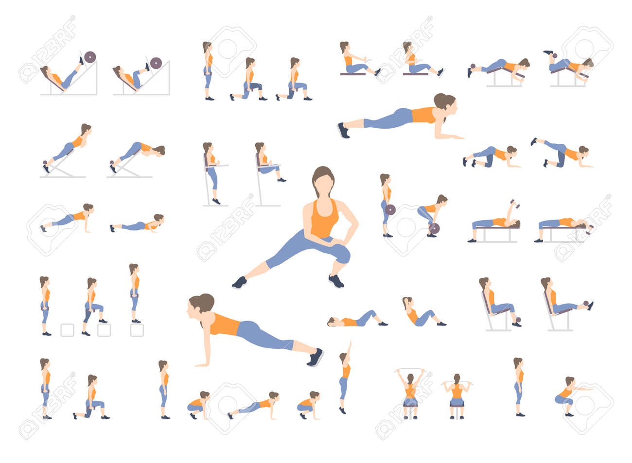Set Of Sport Exercises Exercises With Free Weight Exercises Royalty Free Cliparts Vectors And Stock Illustration Image 102499594