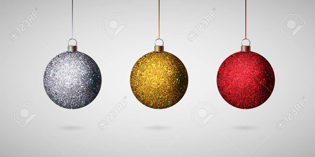 Christmas Tree Balls.Shiny Christmas Ball Realistic Christmas Tree Balls Set Vector