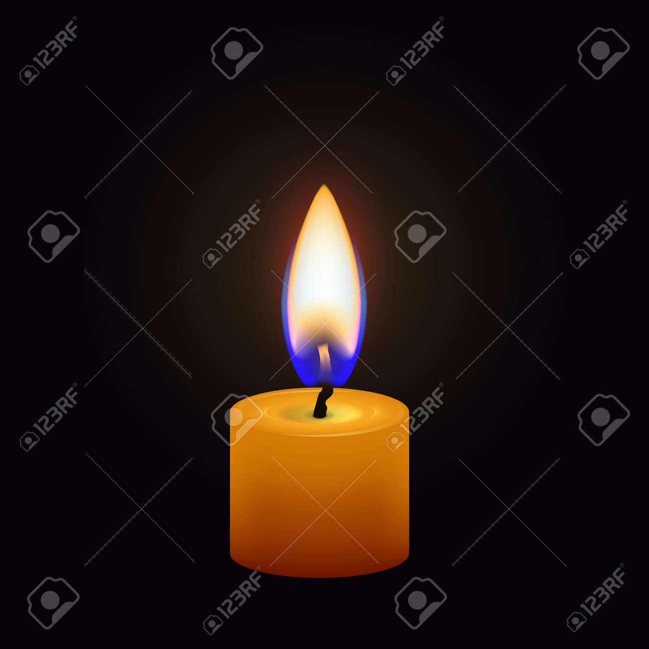 Candle flame close up isolated on a dark background. Realistic vector illustration - 125118835