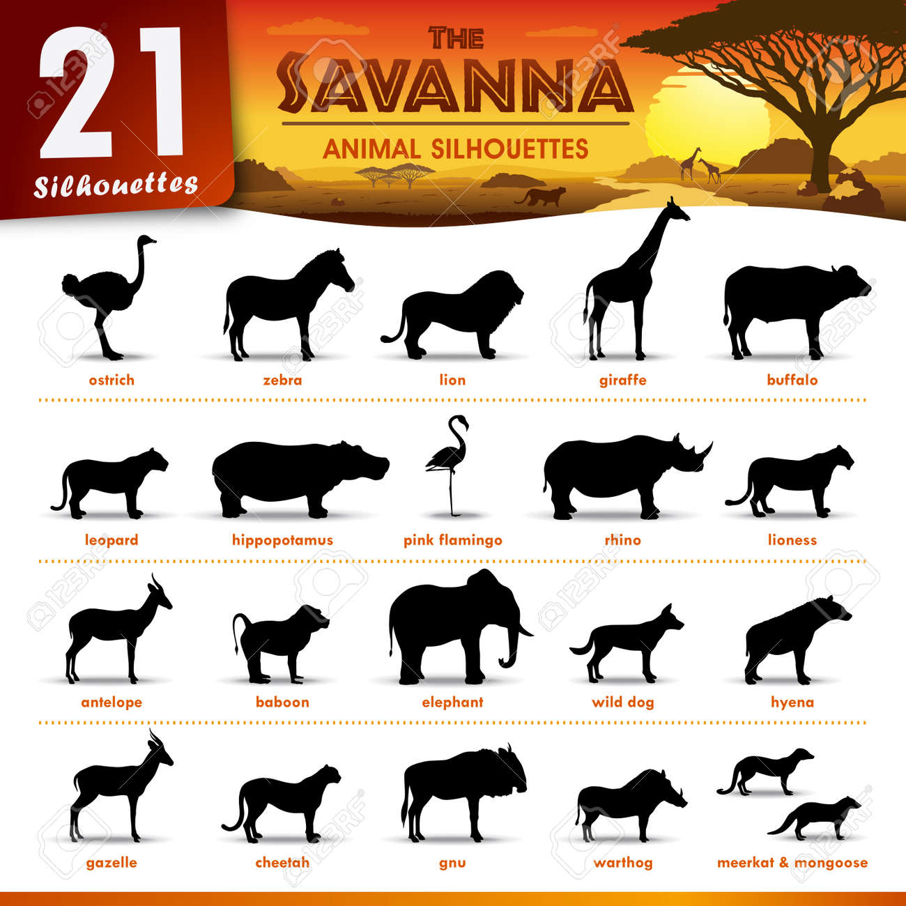 Set with africa animals black white stock vector 169 insima - Guepardo Vector Conjunto De 21 Siluetas Que Representan Diferentes Animales De La Sabana