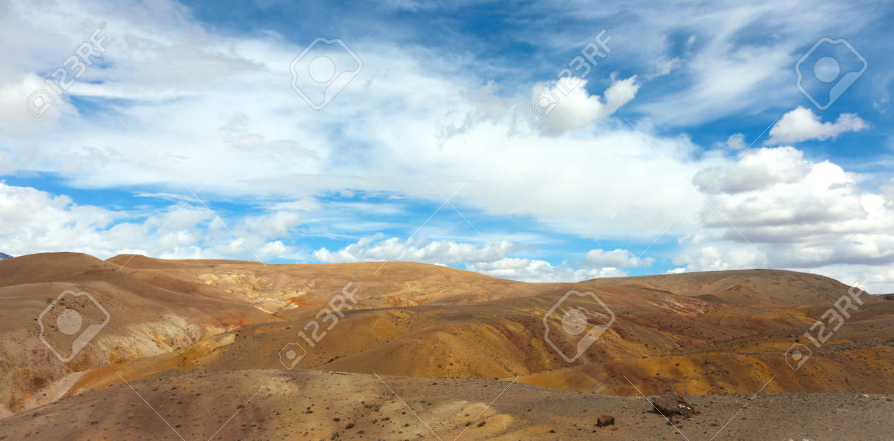 panorama of the steppe and the clouds above it Stock Photo - 16872177