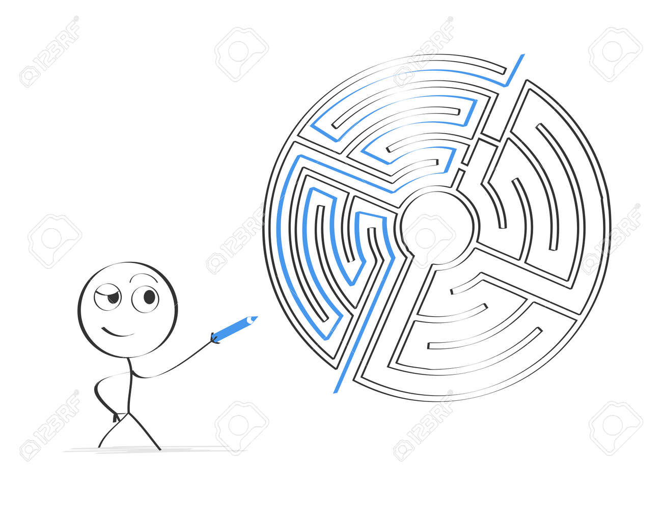 stick figure finding a way through labyrinth royalty free cliparts