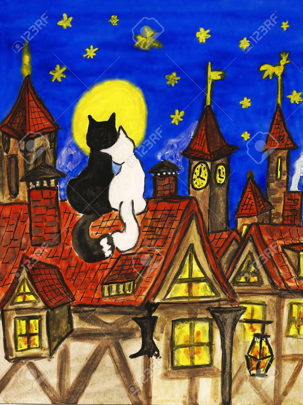 foto dos gatos en el tejado de en el casco antiguo dibujado a