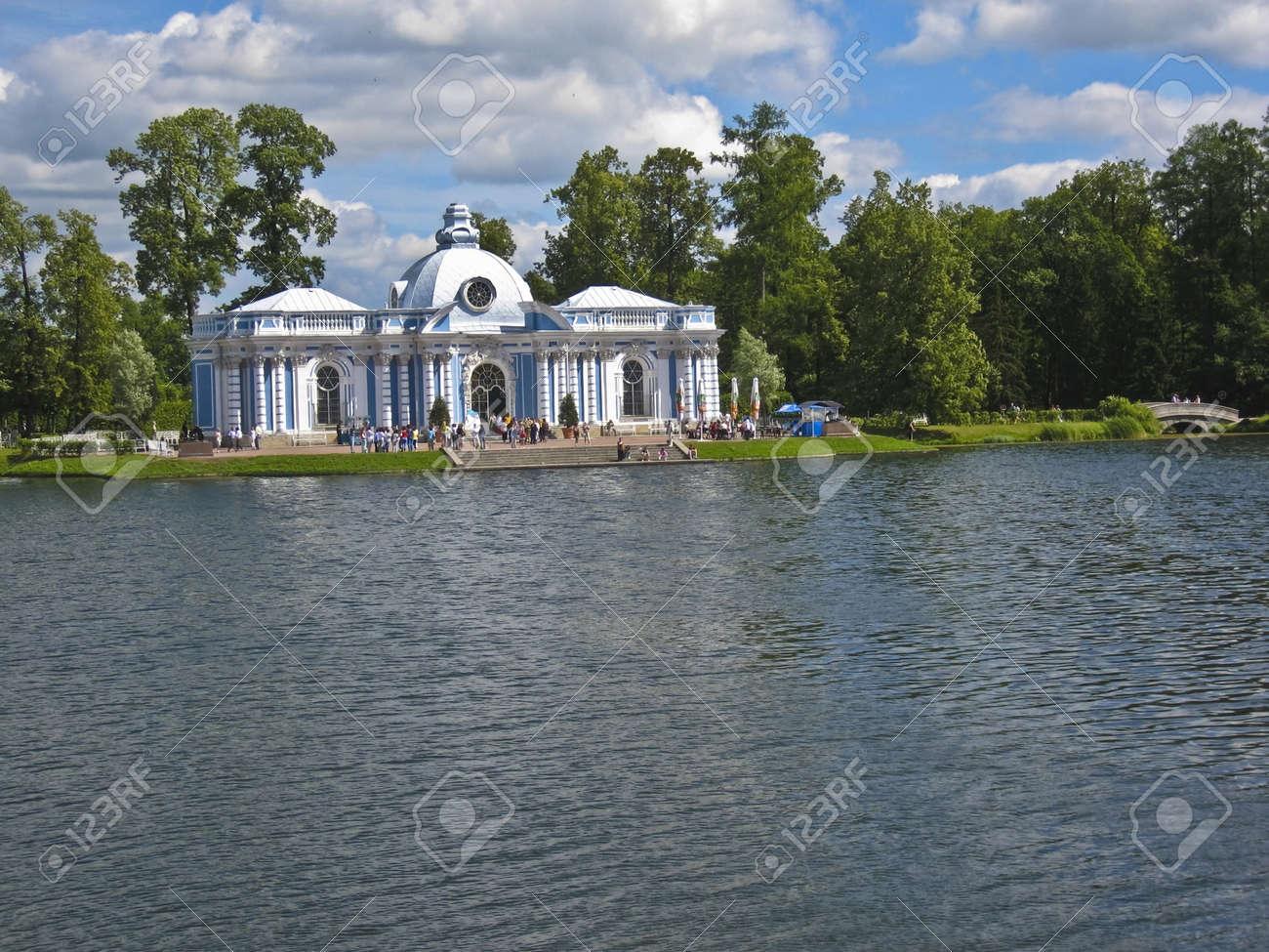 Tsarskoye selo, Russia - July 17, 2008: Decorative pavilion near lake in park in Tsarskoye selo, surroundings of St. Petersburg. Stock Photo - 11542883