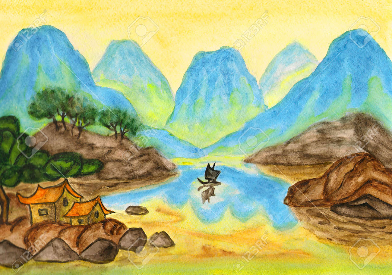 Hand painted picture, watercolours, mix of traditions of ancient Chinese art and individual style, landscape with blue hills on yellow background. Stock Photo - 12900030