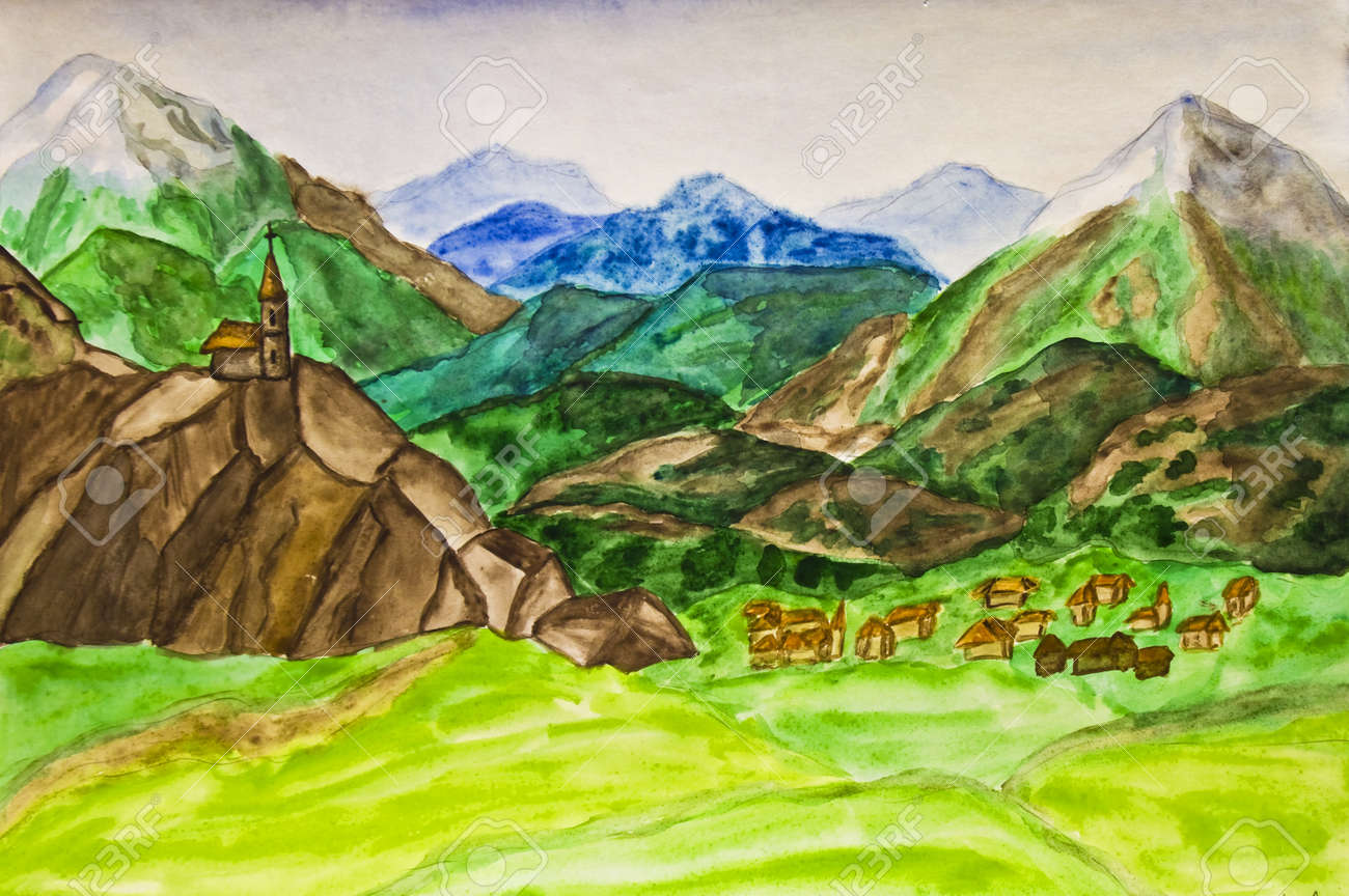 Hand painted picture, watercolours, landscape of Italy with mountains. Stock Photo - 12956089
