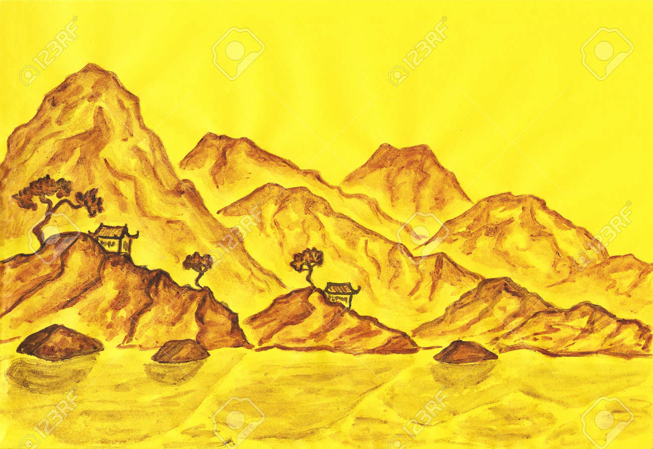 Hand Painted Picture Landscape With Brown Hills On Yellow