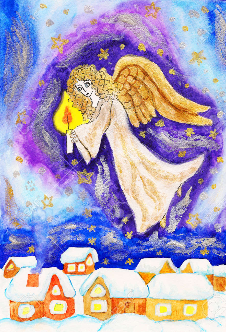 Hand painted Christmas picture, angel with candle, watercolours, golden and silver gouache. Stock Photo - 16061311