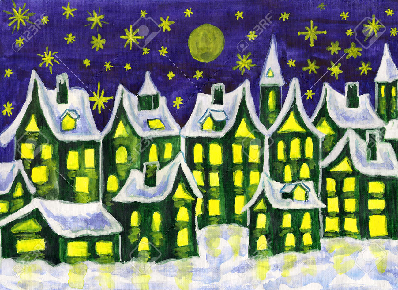 Hand Painted Picture, Watercolours, Dreamstown In Green Colours ...