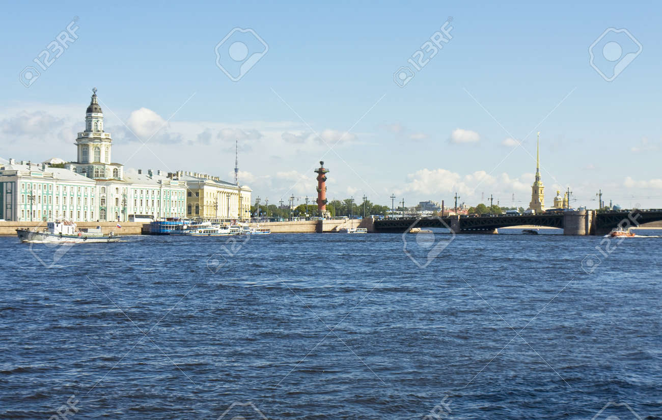 St. Petersburg, Russia, University quay of river Neva, building of Museum of Anthropology and ethnography (cabinet of curiosities) 1718-1734, Palace bridge, Rostral coloumn and cathedral of St. Peter and Paul of castle of St. Peter and Paul. Stock Photo - 17522803