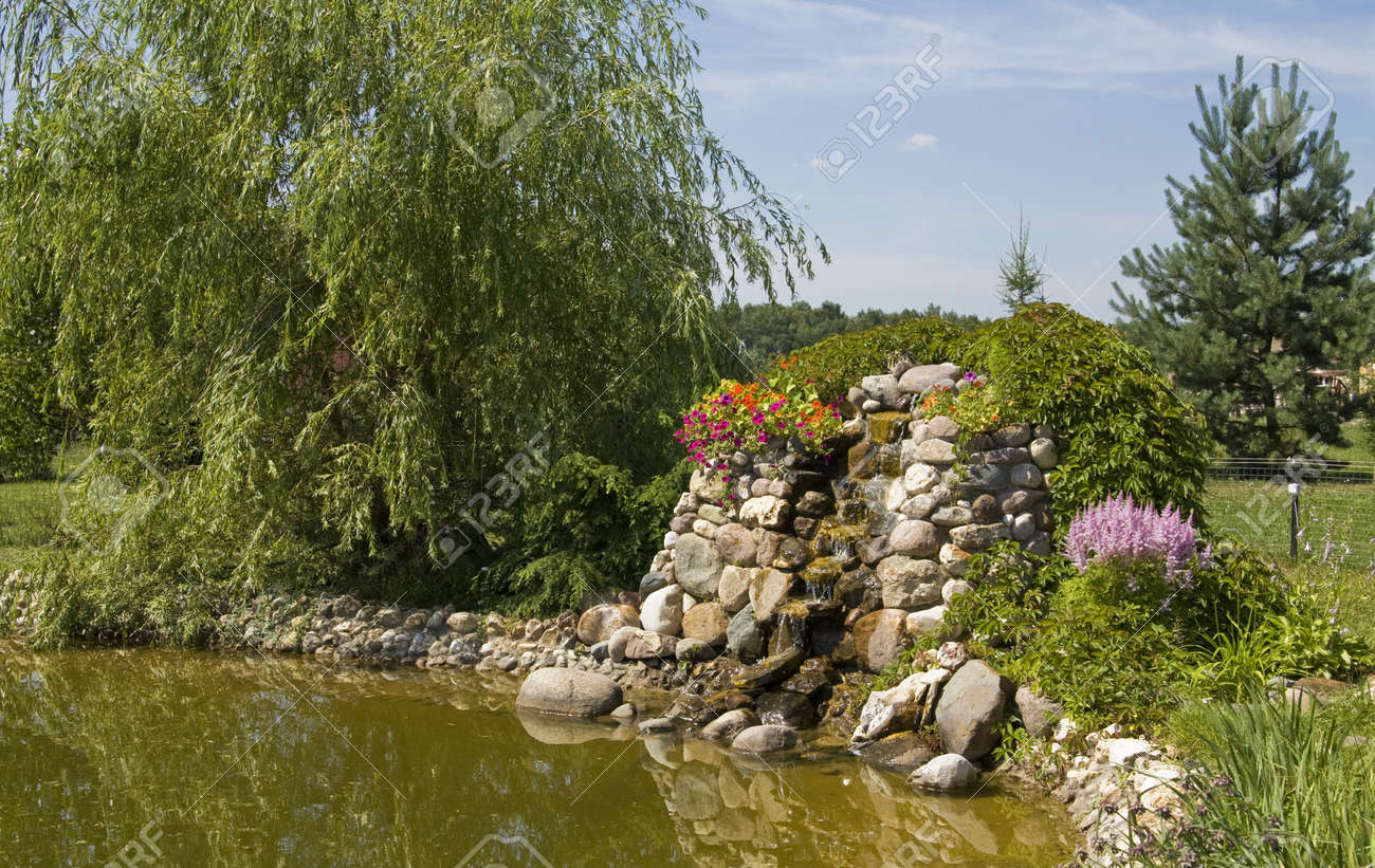 Exemple D\'aménagement Paysager Pour Le Jardin - Petite Chute D\'eau ...