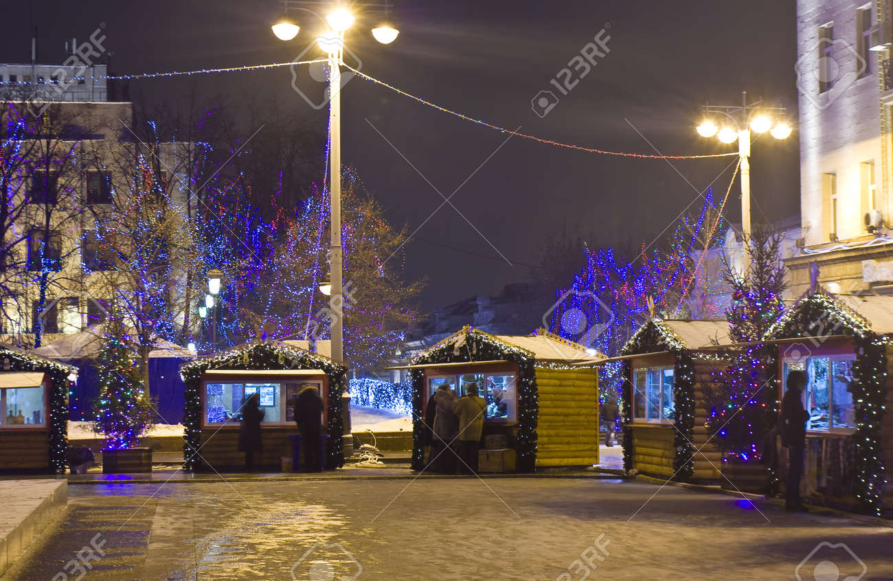 Christmas market on the street in Moscow, Russia. Stock Photo - 21285027