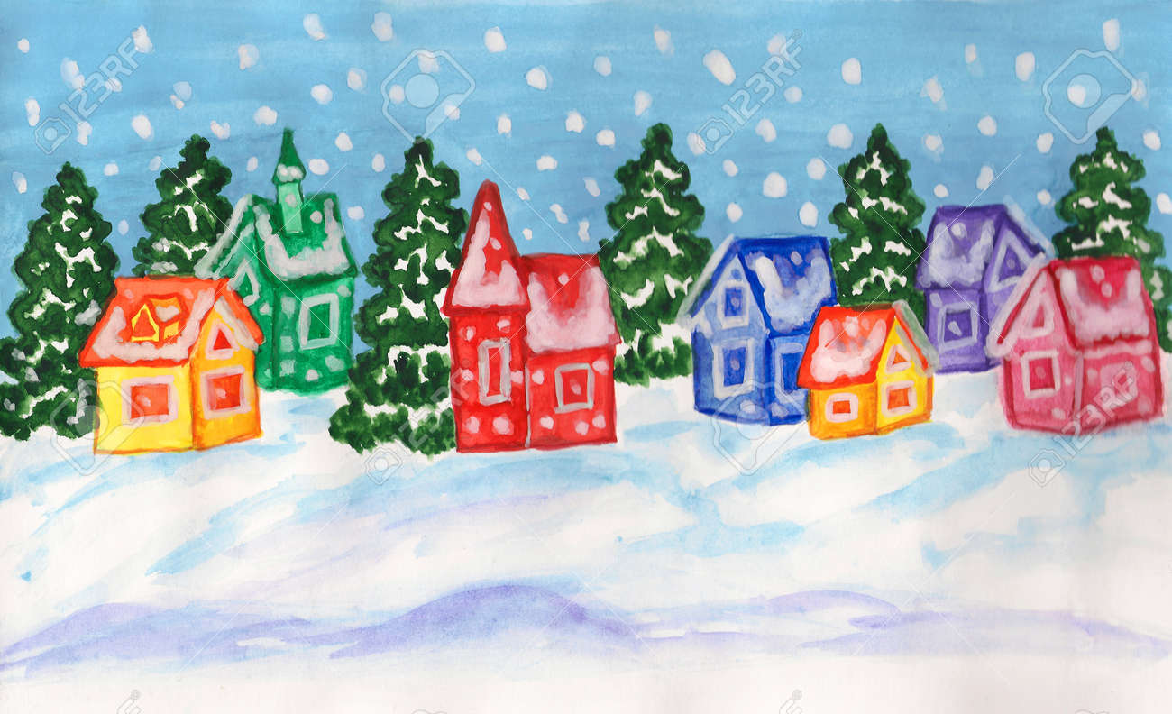 Banque dimages peint à la main image de noël et jour de lan aquarelles et gouaches paysage dhiver avec des sapins et des maisons de différentes