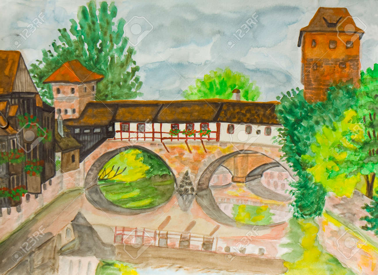 Nürenberg painted picture watercolours town nurenberg in germany