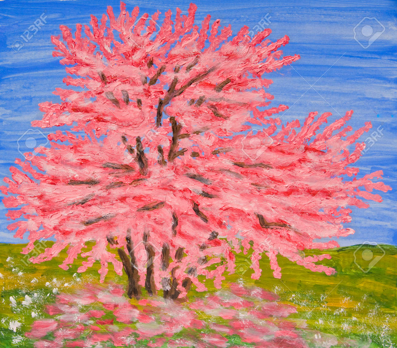 Cercis Tree In Blossom Oil Painting Stock Photo Picture And