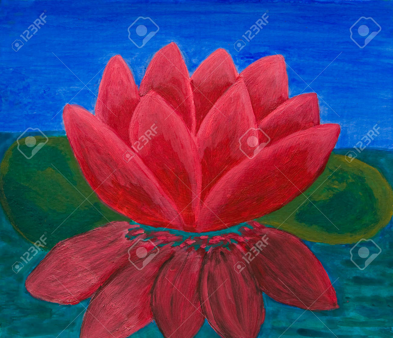 Crimson Waterlily Oil Painting Stock Photo Picture And Royalty